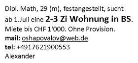 Gesucht: 2-3 Zi Wohnung in Basel