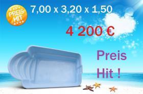 Gfk Schwimmbecken 7,00x3,20x1,50 komplett Set
