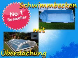 Gfk Schwimmbecken, Einbaubecken mit Überdachung, 6,10x3,10 komplettes Set