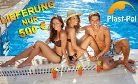 Gfk Schwimmbecken, Swimming Pool, Einbaubecken 6,05x2,70 Fertigpool, SET