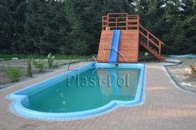Foto 2 Gfk Schwimmbecken, Swimming Pool, Einbaubecken 6,50x3,10 Fertigpool, SET