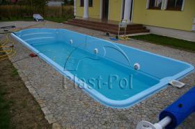 Foto 4 Gfk Schwimmbecken, Swimming Pool, Einbaubecken 6,50x3,10 Fertigpool, SET
