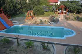 Foto 2 Gfk Schwimmbecken, Swimming Pool, Einbaubecken 8,20x3,10 Fertigpool, SET