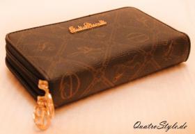Giulia Pieralli Damen Geldbeutel mit umlaufendem Reißverschluss schwarz Damen Portemonnaie Geldbörse