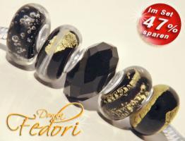 Glasbeads-Set Angebot 116 - Schwarzgoldene Versuchung