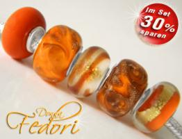 Glasbeads-Set Angebot 120 - Oranges Leuchten