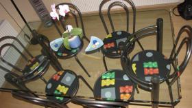 Foto 2 Glastisch Tischgruppe mit 6 St�hle