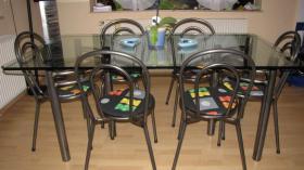 Foto 3 Glastisch Tischgruppe mit 6 St�hle