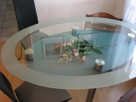 glastisch oval mit 4 st hlen in tettnang glas oval esstisch. Black Bedroom Furniture Sets. Home Design Ideas