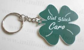 Glücksbringer Kleeblatt - Schlüsselanhänger mit Schlüsselring und Wunschgravur