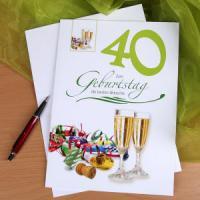 Glückwunschkarte in vielen Formen und Farben zum 40. Geburtstag