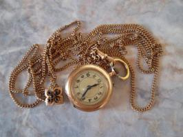 Goldene Taschenuhr 585 Gold (kleine Damenuhr mit langer Kette)