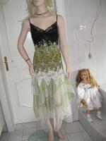 Gothik Abendkleid bodenlang 40/42 Rosen Spitzen T�ll NEU gr�n