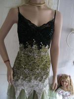Foto 6 Gothik Abendkleid bodenlang 40/42 Rosen Spitzen T�ll NEU gr�n