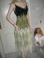Foto 7 Gothik Abendkleid bodenlang 40/42 Rosen Spitzen T�ll NEU gr�n