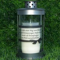 Grablaterne zum stecken, inklusive Grablicht und Trauerspruch, Grablichter Abschied