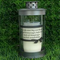Foto 3 Grablaterne zum stecken, inklusive Grablicht und Trauerspruch, Grablichter Abschied