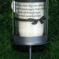 Foto 4 Grablaterne zum stecken, inklusive Grablicht und Trauerspruch, Grablichter Abschied