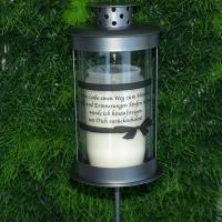 Foto 5 Grablaterne zum stecken, inklusive Grablicht und Trauerspruch, Grablichter Abschied