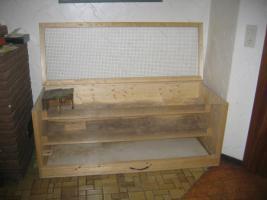 Großer Kleistierstall, 3 Etagen, Holz mit Plexiglasscheibe und Gitter