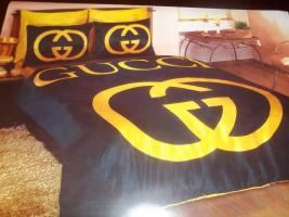 Gucci Schwarz Gold satin 6 teilige Bettw�sche Neu , Ovp