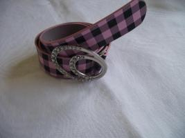 Gürtel mit Karo und großer Gürtelschnalle rosa/schwarz-Neu