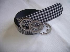 Gürtel mit Karo und großer Gürtelschnalle schwarz/weiss-Neu