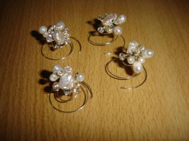 Haarschmuck, 4 wundersch�ne Curlis mit Zuchtperlen