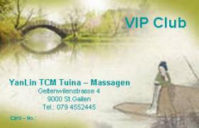 Haben Sie schon Ihre Tuina Massage VIP Club – Karte?