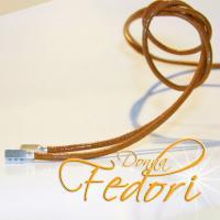 Halsband für Beads 925 Sterling Silber, Leder 120 cm hellbraun