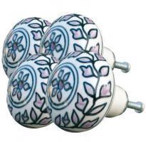 Handbemalte M�belkn�pfe im 4er Set aus hochgebrannter Keramik. Zur einfachen Eigenmontage an Schrankt�ren, Schubladen usw...