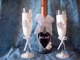 Foto 3 Handdekorierte Gl�ser, Flaschen, Bilderrahmen usw...
