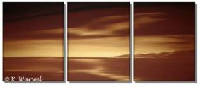 Foto 2 Heaven Lights - 3 Acrylgemälde 50x130cm - Landschaft Gold