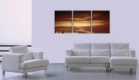 Foto 3 Heaven Lights - 3 Acrylgemälde 50x130cm - Landschaft Gold