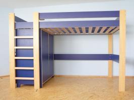 hochbett ikea robin blau mit lattenrost ohne matraze in moosthenning. Black Bedroom Furniture Sets. Home Design Ideas
