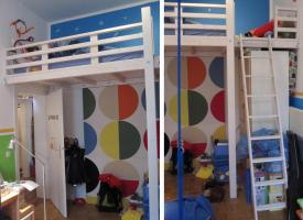 Hochbett / Hochebene weiß, massiv - ideal für Kinderzimmer
