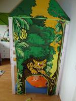 Foto 2 Hochbett, wei� lasierte Kiefer, Vorhang mit Dschungelmotiv