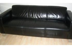 Hochwertige Couch Leder plus Sessel in schwarz wie neu NP:1500