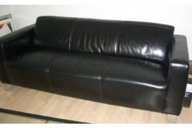 Foto 4 Hochwertige Ledercouch plus Sessel wie neu in schwarz NP:1500