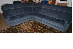 Hochwertige Polstergarnitur 2er-3er mit Eck und Sessel Stoffbezug Blau