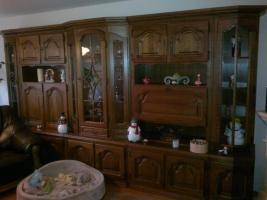Hochwertige Wohnz.Schrankwand massiv Holz u.Sidebord