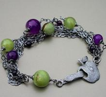 Hochwertiges Armband Sterling Silber mit Achat und Onyx
