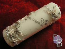 Hochzeitskerze ''Silberschatz'' 185x60