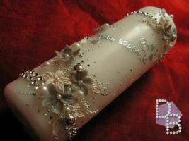 Foto 2 Hochzeitskerze ''Silberschatz'' 185x60