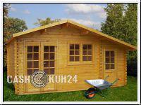 Holzhaus mit Nebenraum - Gartenhaus Blockhaus 577x448 cm Wandst�rke 44 mm