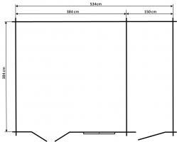 Foto 2 Holzhaus mit Nebenraum - Gartenhaus Blockhaus 577x448 cm Wandstärke 44 mm