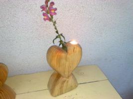 Holzherz Vase Holzvase Geschenkidee