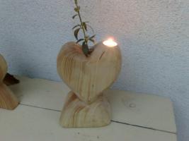 Foto 2 Holzherz Vase Holzvase Geschenkidee