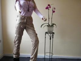 Hose von Vero Moda, ,Beige mit Glanz, ,, mit vielen Taschen und Bänder