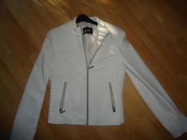 Hübsche weiße Lederjacke (100 % Leder), Gr. 36